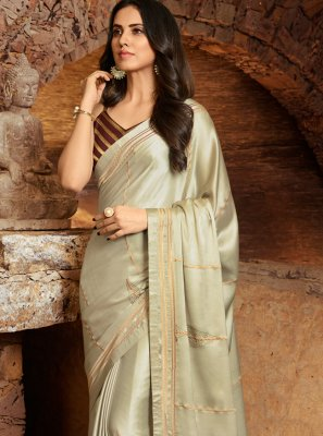 Grey Embroidered Silk Classic Saree