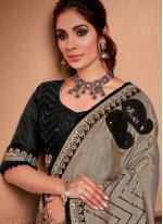 Grey Embroidered Silk Contemporary Saree
