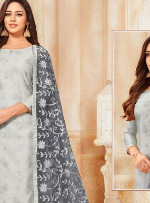 Grey Embroidered Trendy Churidar Salwar Kameez