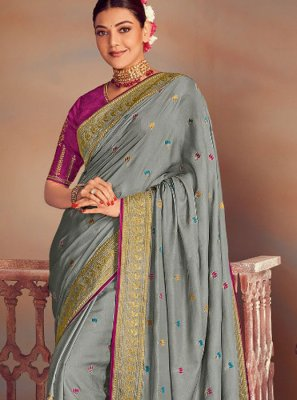 Grey Embroidered Wedding Classic Saree