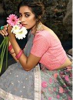 Grey Engagement Net Trendy Designer Lehenga Choli