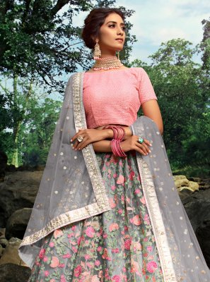 Grey Engagement Net Trendy Designer Lehenga Choli