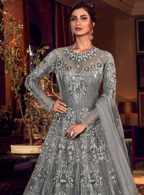Grey Engagement Net Trendy Long Length Anarkali Suit
