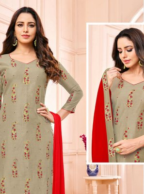 Grey Fancy Fabric Churidar Designer Suit