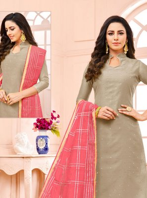 Grey Fancy Fabric Fancy Designer Straight Suit