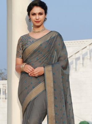Grey Faux Chiffon Embroidered Contemporary Saree