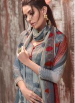 Grey Faux Crepe Designer Pakistani Suit