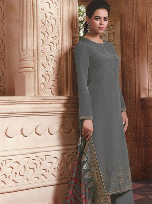 Grey Faux Crepe Designer Palazzo Salwar Kameez