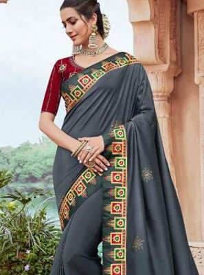 Grey Faux Georgette Embroidered Classic Saree