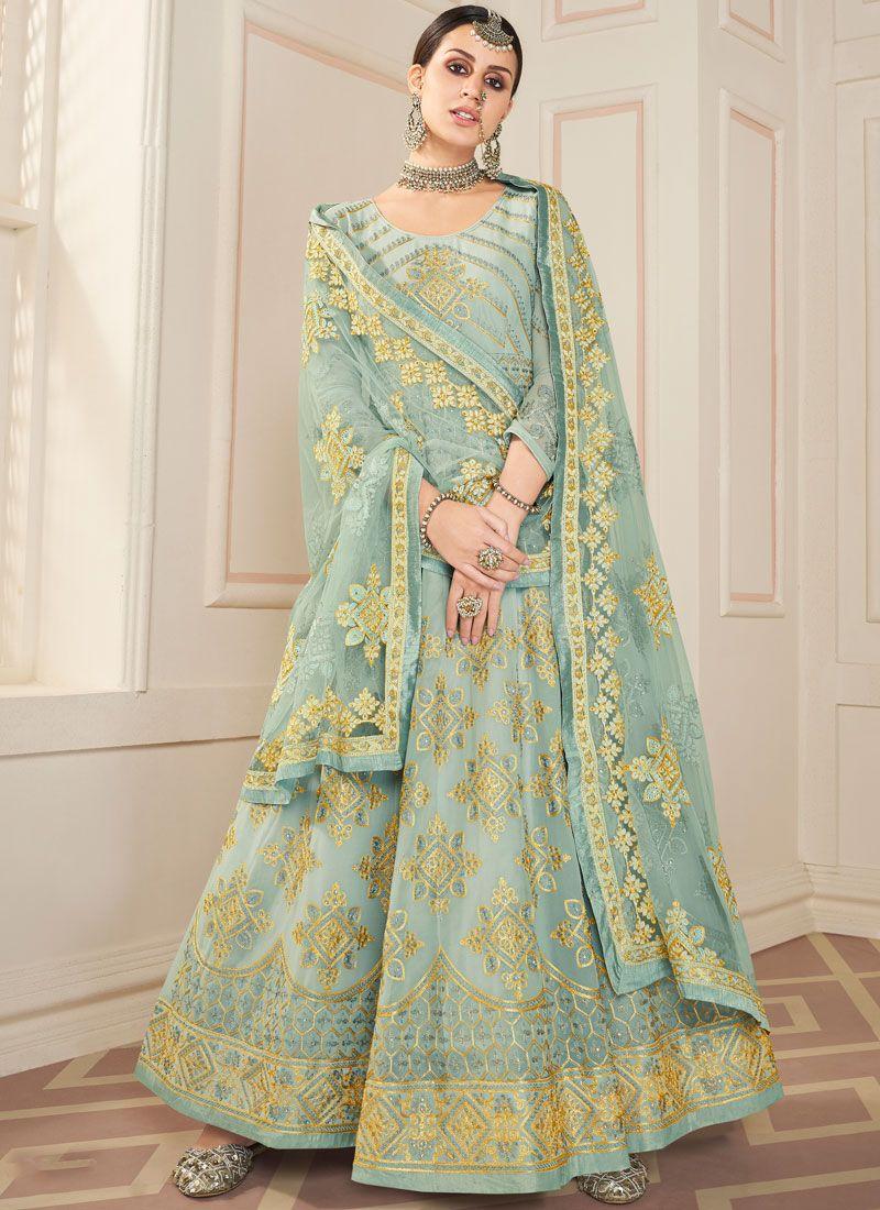 Grey Faux Georgette Party Floor Length Anarkali Salwar Suit