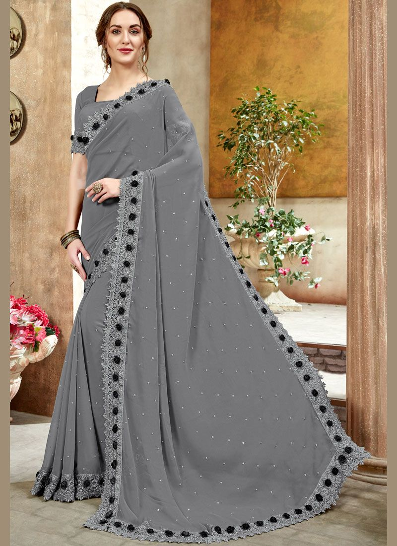 Grey Faux Georgette Trendy Saree