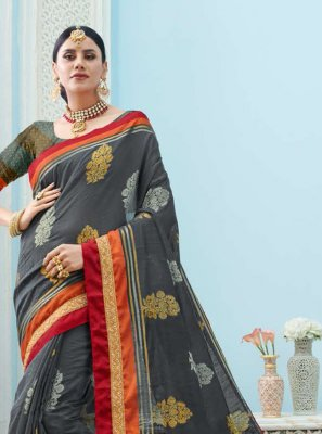 Grey Festival Art Silk Trendy Saree