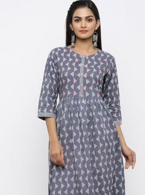 Grey Festival Cotton Salwar Kameez
