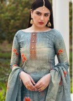 Grey Festival Cotton Silk Pakistani Suit