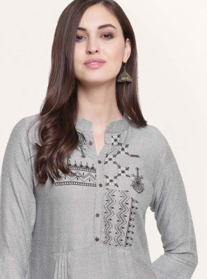 Grey Festival Fancy Fabric Party Wear Kurti