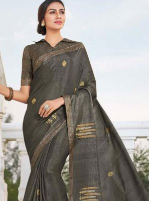 Grey Festival Fancy Fabric Traditional Saree