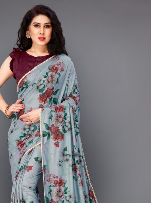 Grey Festival Lycra Trendy Saree