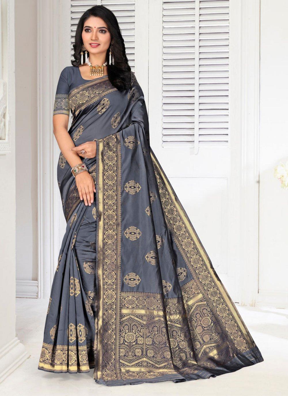 Grey Festival Silk Designer Saree
