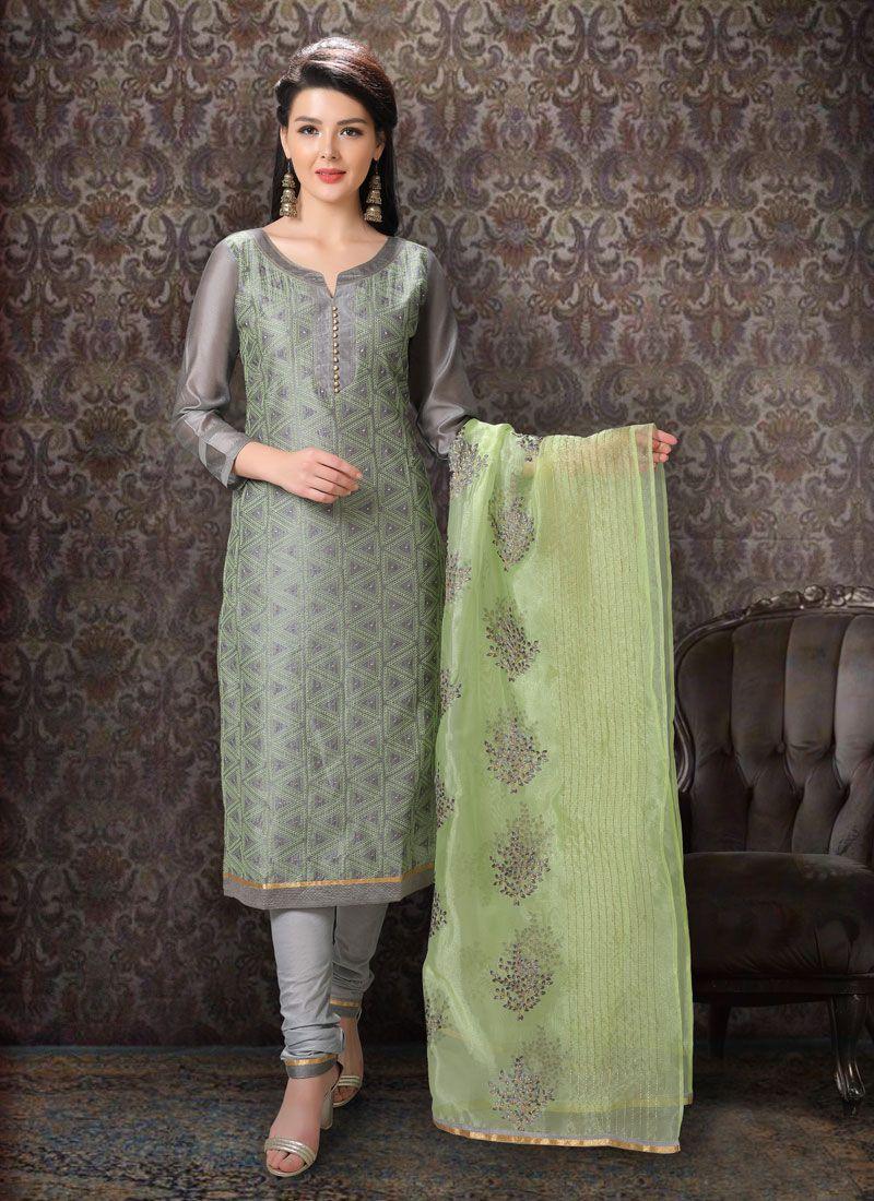 Grey Festival Silk Salwar Kameez