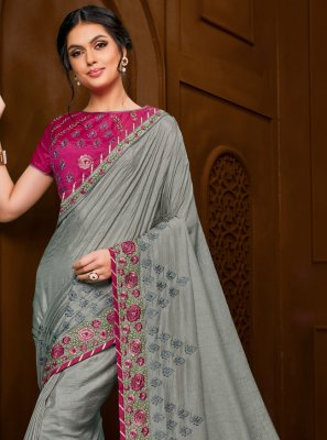 Grey Festival Trendy Saree