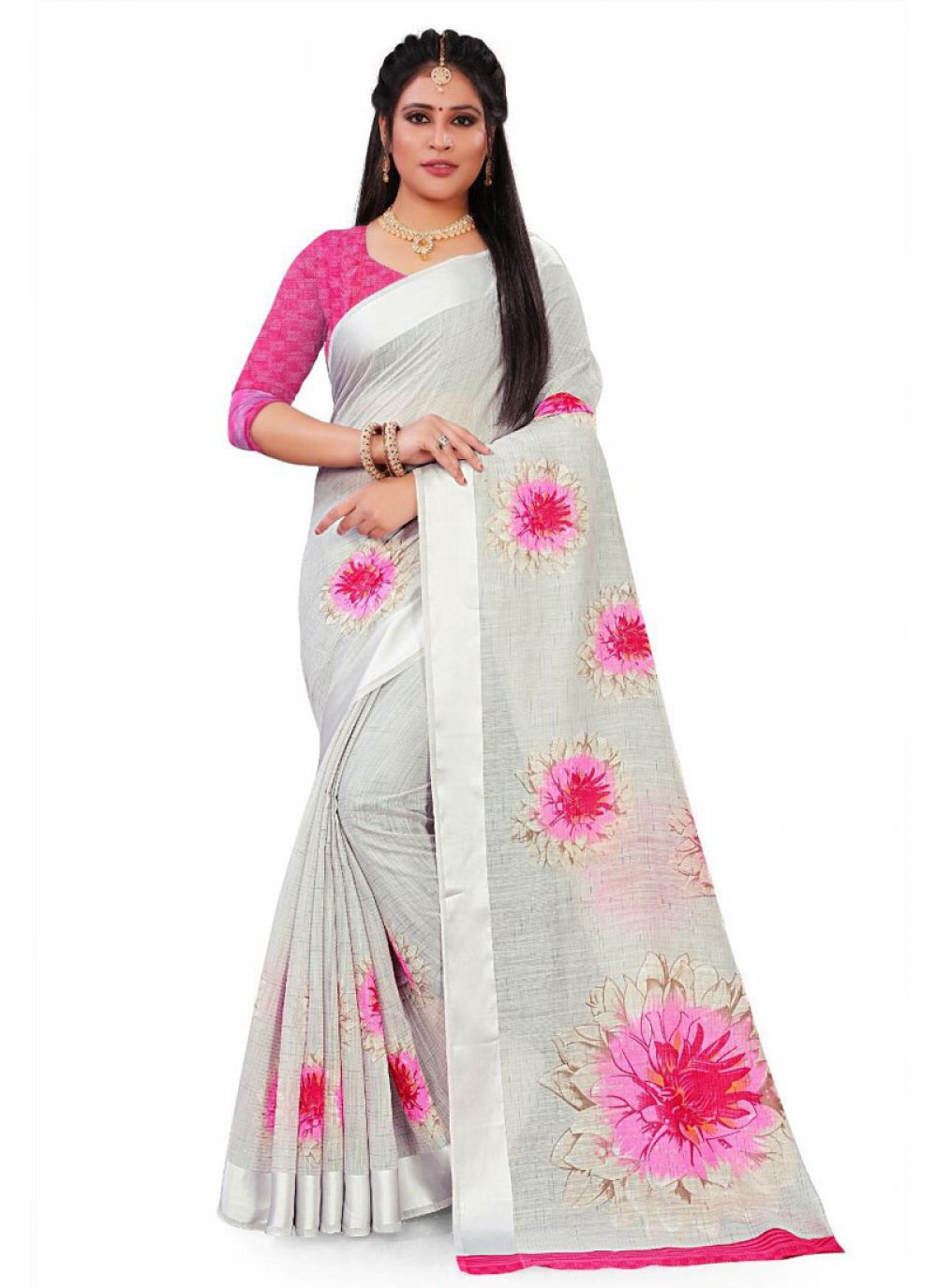 Grey Floral Print Casual Saree