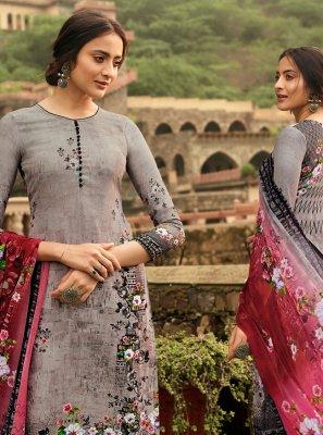 Grey Floral Print Crepe Silk Trendy Palazzo Suit
