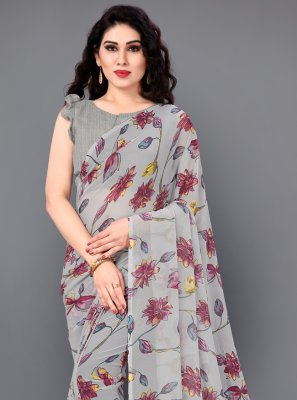 Grey Floral Print Faux Georgette Casual Saree