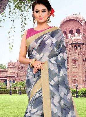 Grey Floral Print Mehndi Classic Saree