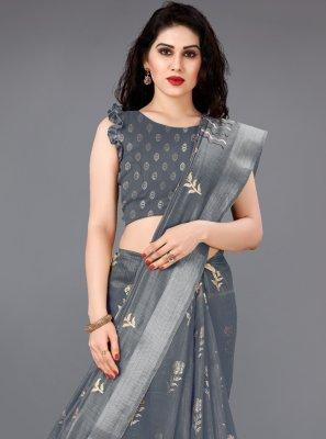 Grey Foil Print Casual Saree