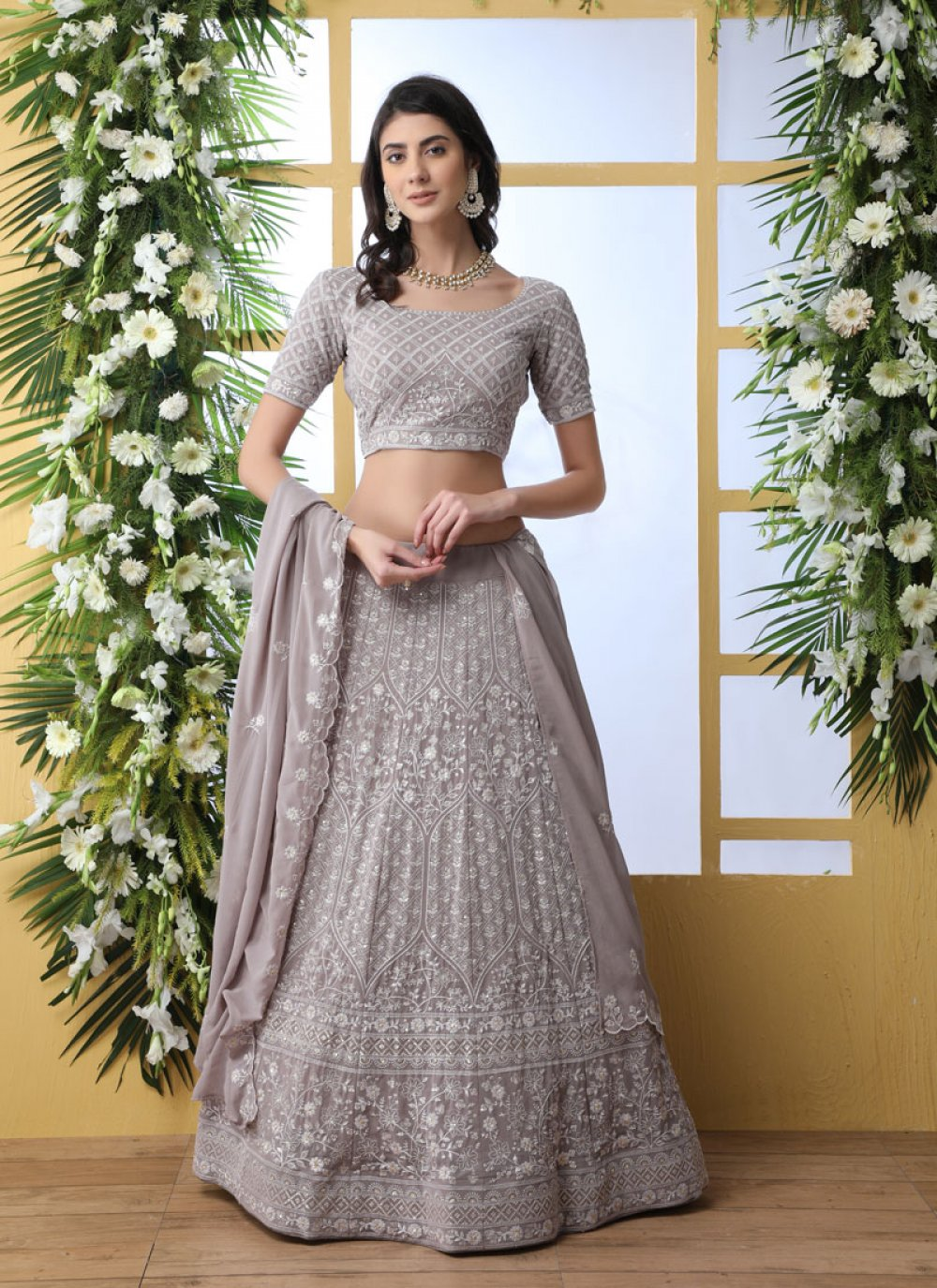 Grey Georgette A Line Lehenga Choli