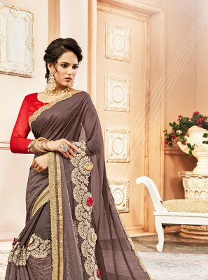 Grey Georgette Embroidered Designer Saree