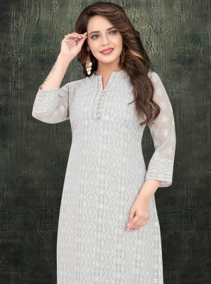 Grey Georgette Embroidered Pakistani Salwar Suit