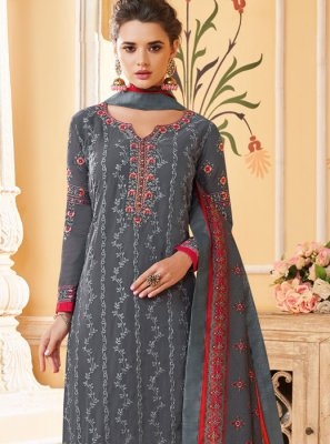 Grey Georgette Festival Pant Style Suit