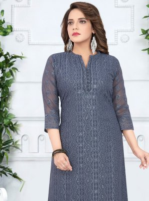 Grey Georgette Festival Salwar Suit