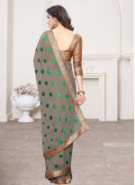 Grey Georgette Lace Classic Saree