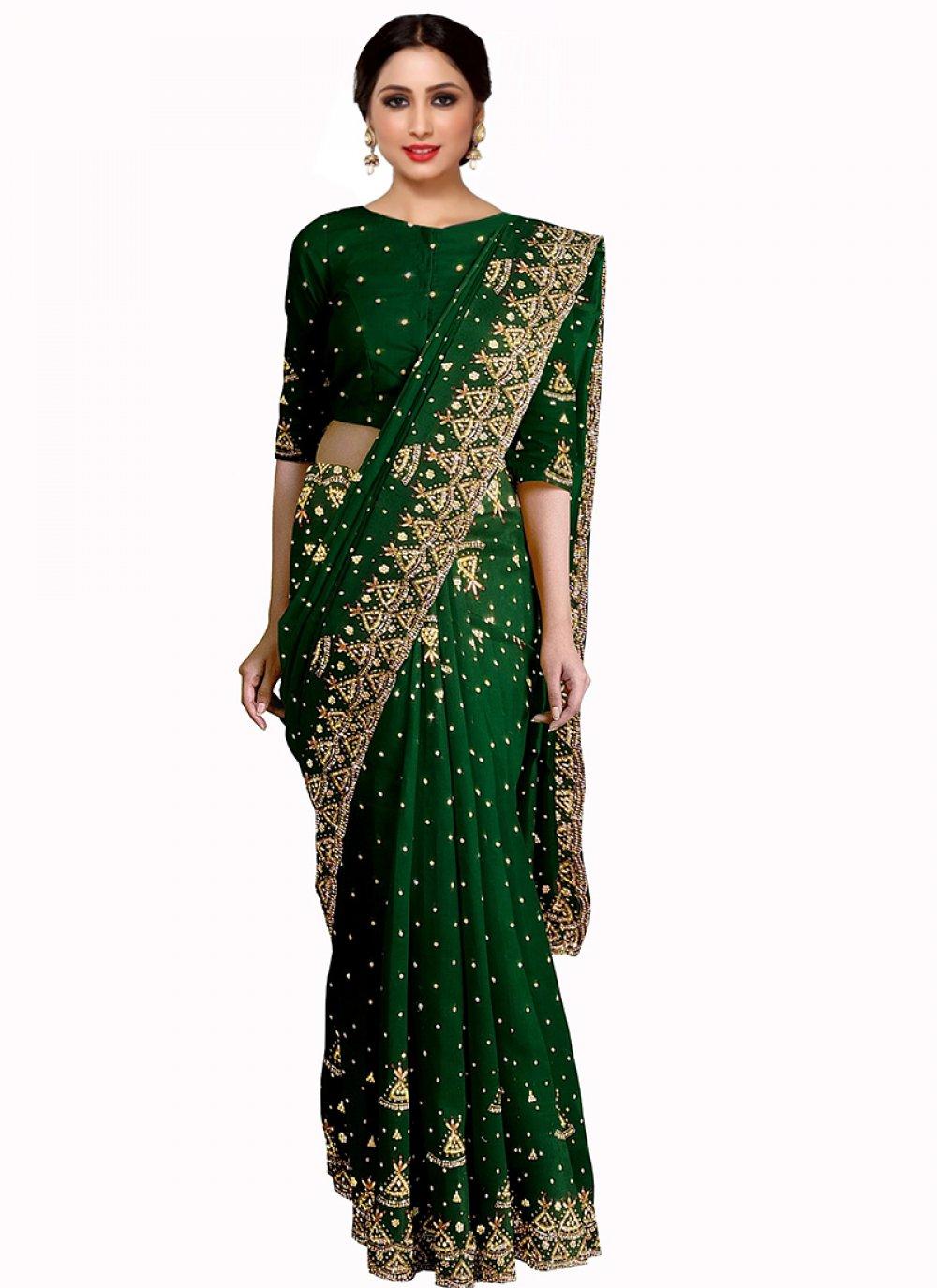 Green Georgette Mehndi Saree