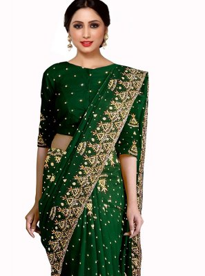 Green Georgette Mehndi Saree