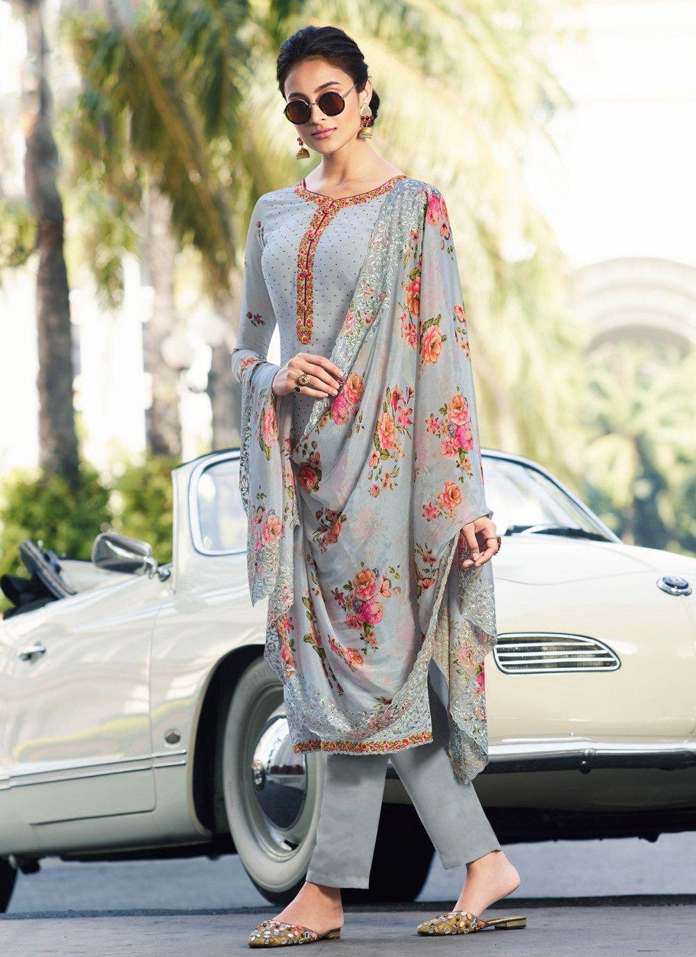 Grey Georgette Salwar Suit