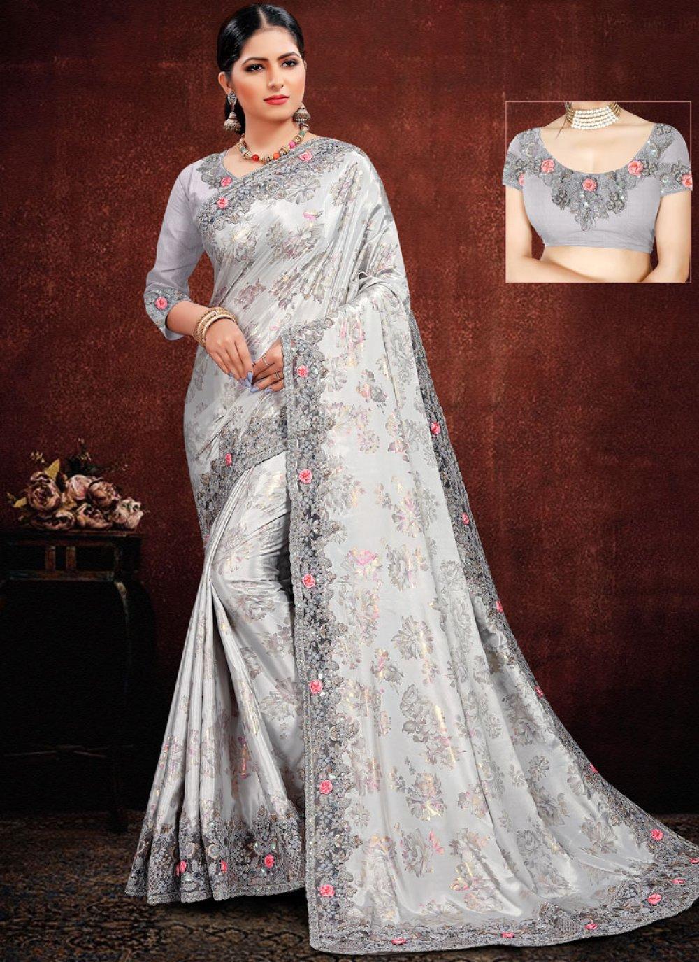 Grey Georgette Satin Classic Designer Saree