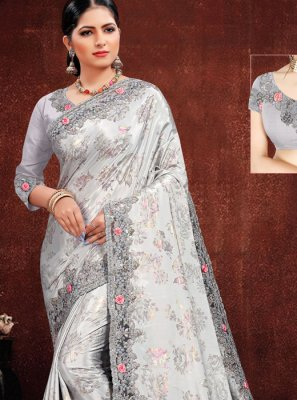 Grey Georgette Satin Classic Designer Saree