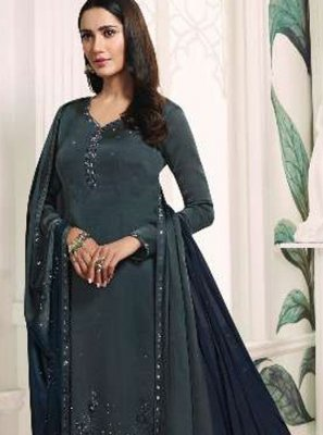 Grey Georgette Satin Resham Trendy Churidar Salwar Kameez