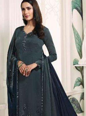 Grey Georgette Satin Resham Trendy Churidar Salwar Kameez