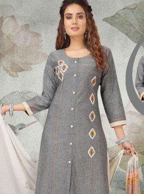Grey Handloom Cotton Salwar Suit