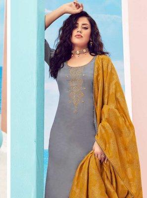 Grey Handwork Designer Pakistani Salwar Suit