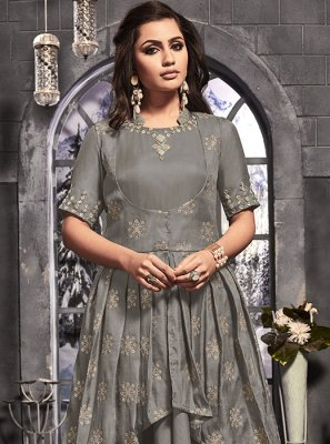 Grey Handwork Satin Silk Anarkali Salwar Suit