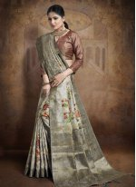 Grey Jacquard Silk Traditional Saree