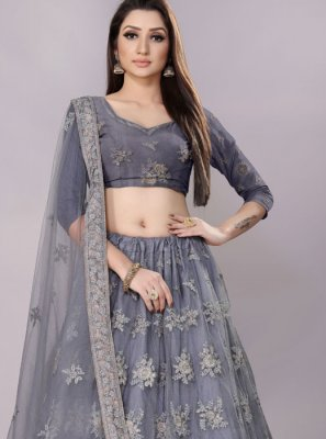 Grey Lace Lehenga Choli