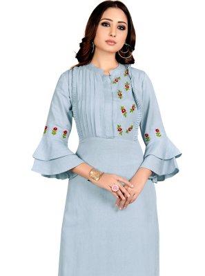 Grey Linen Designer Kurti