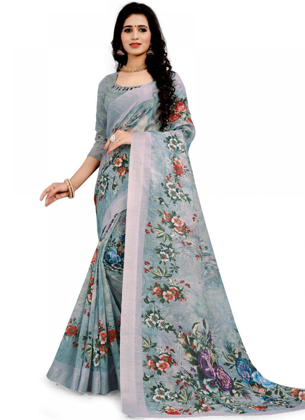 Grey Linen Floral Print Printed Saree