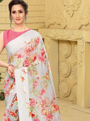 Grey Linen Printed Trendy Saree